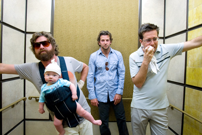 Left to right: Zach Galifianakis as Alan, baby Tyler, Bradley Cooper as Phil and Ed Helms as Stu in The Hangover
