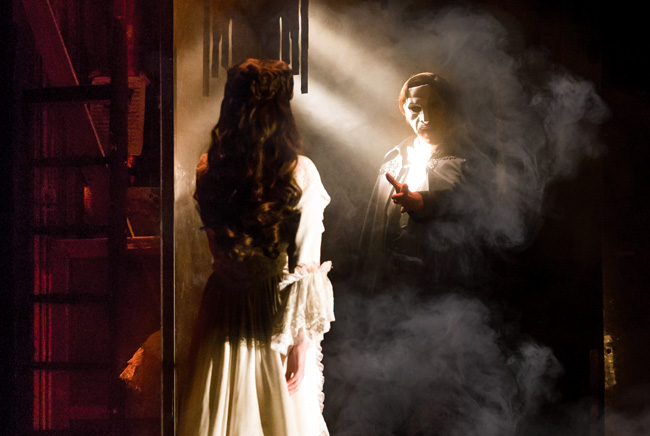 Julia Udine as Christine Daae and Cooper Grodin as The Phantom in The Phantom of the Opera