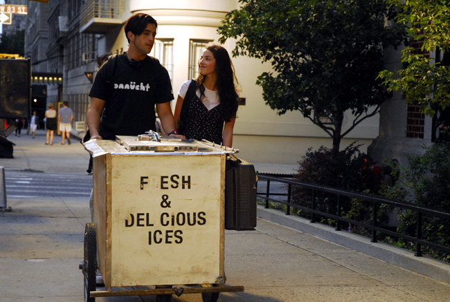 Josh Peck (left) as Luke and Olivia Thirlby as Stephanie in The Wackness