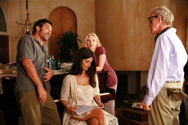 Left to right: Javier Bardem, Penelope Cruz, Scarlett Johansson and director Woody Allen on the set of Vicky Cristina Barcelona