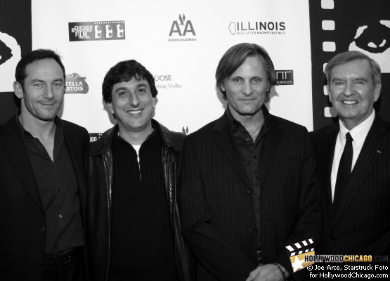 From left to right: Good actor Jason Isaacs, Good director Vicente Amorim, Good actor Viggo Mortensen and Chicago International Film Festival founder Michael Kutza at the U.S. premiere of Good on the closing night of the 2008 Chicago International Film Festival on Oct. 29, 2008