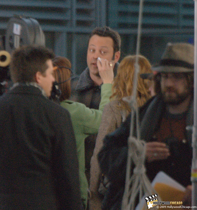 Vince Vaughn filming Couples Retreat in Chicago