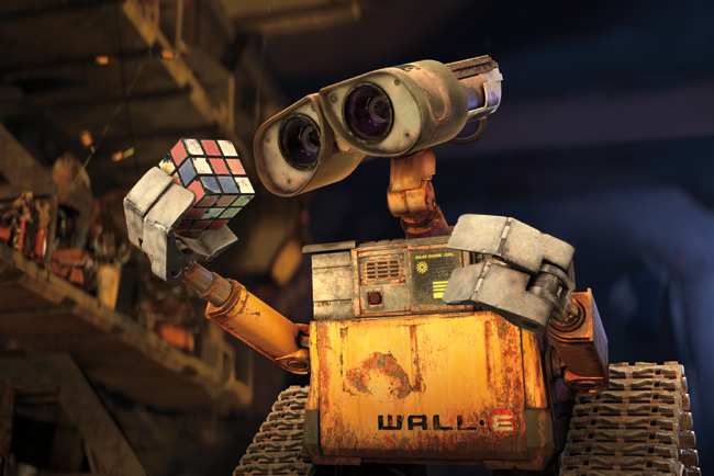 WALL-E in WALL-E, which is written and directed by Andrew Stanton and features voice work from Ben Burtt, Elissa Knight, Jeff Garlin, Fred Willard, John Ratzenberger, Kathy Najimy and Sigourney Weaver