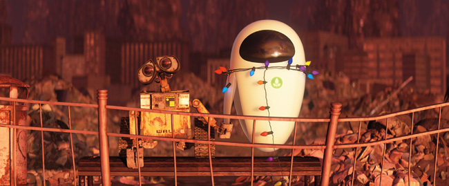WALL-E (left) and Eve (right) in WALL-E, which is written and directed by Andrew Stanton and features voice work from Ben Burtt, Elissa Knight, Jeff Garlin, Fred Willard, John Ratzenberger, Kathy Najimy and Sigourney Weaver