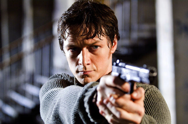 James McAvoy in Wanted, which features Angelina Jolie, Morgan Freeman, Terence Stamp, Common and David O'Hara