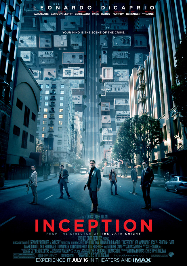 The movie poster for Inception with Leonardo DiCaprio and Ellen Page