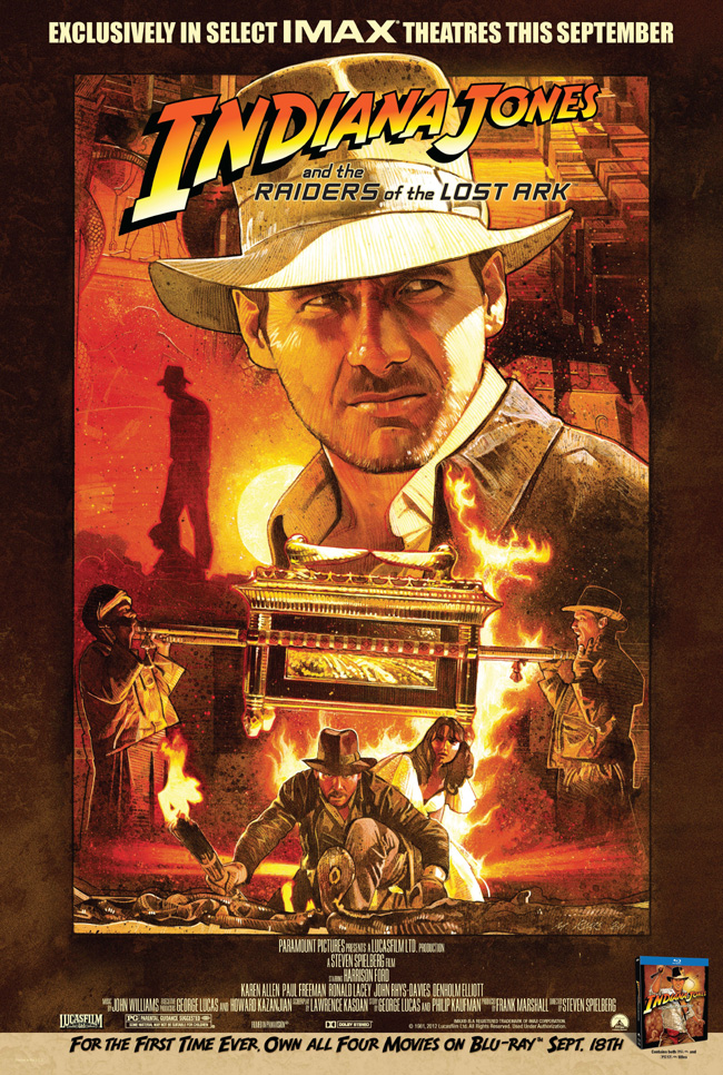 The movie poster for Indiana Jones and the Raiders of the Lost Ark in IMAX