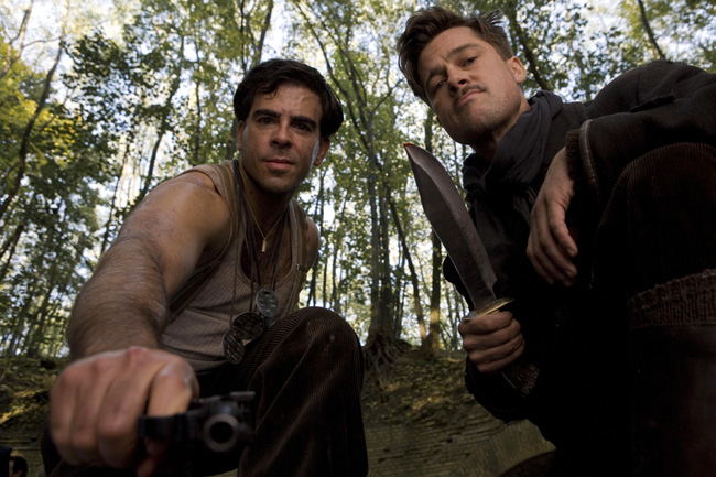 Brad Pitt and Eli Roth in Quentin Tarantino's Inglourious Basterds