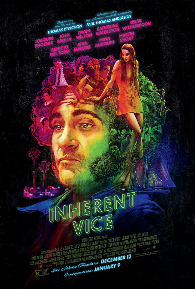 The movie poster for Inherent Vice starring Joaquin Phoenix from Paul Thomas Anderson
