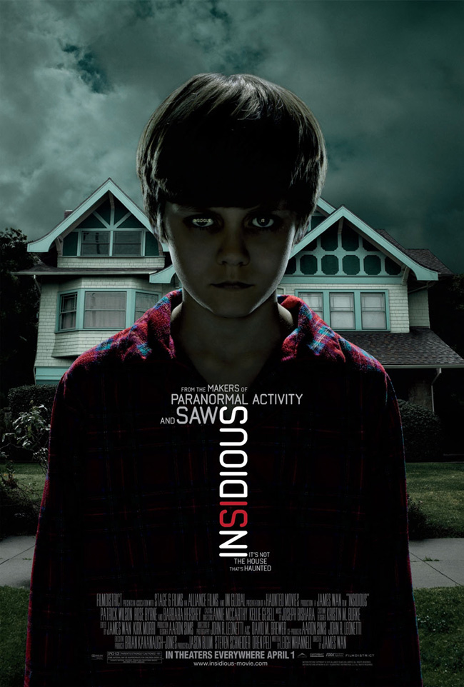 The movie poster for Insidious with Patrick Wilson and Rose Byrne