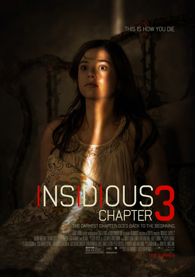 The movie poster for Insidious: Chapter 3 starring Dermot Mulroney, Lin Shaye and Stefanie Scott