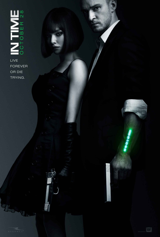 The movie poster for In Time with Justin Timberlake, Amanda Seyfried and Cillian Murphy