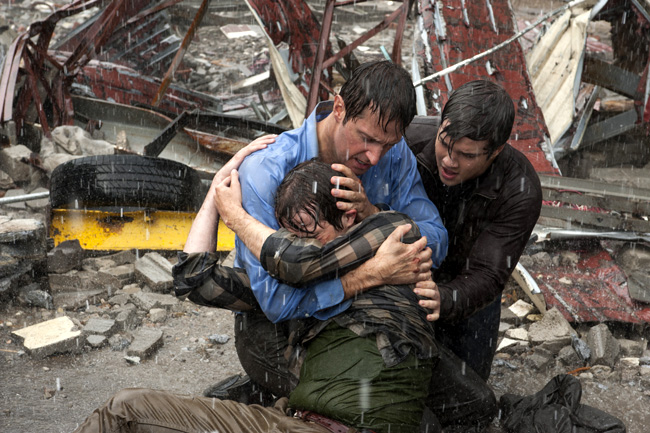 Max Deacon, Richard Armitage and Nathan Kress in Into the Storm