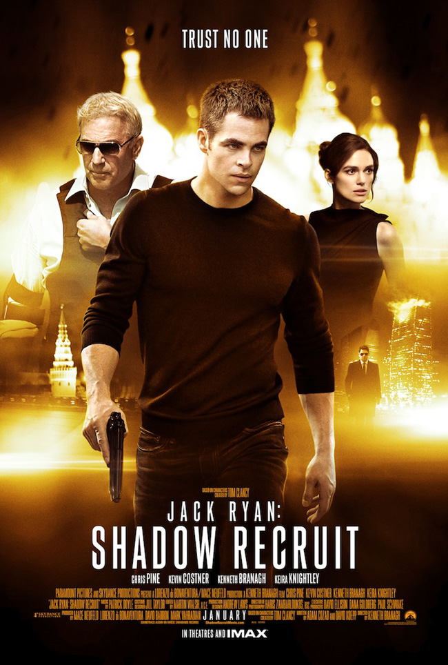The movie poster for Jack Ryan: Shadow Recruit starring Chris Pine, Kevin Costner and Keira Knightley