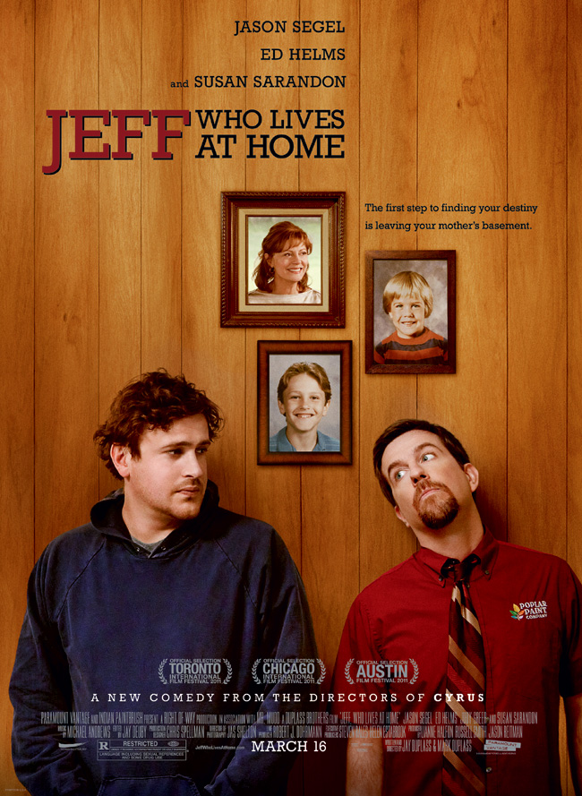 The movie poster for Jeff, Who Lives at Home starring Jason Segel and Ed Helms