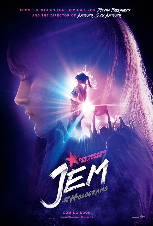 The movie poster for Jem and the Holograms from the director of the Step Up series