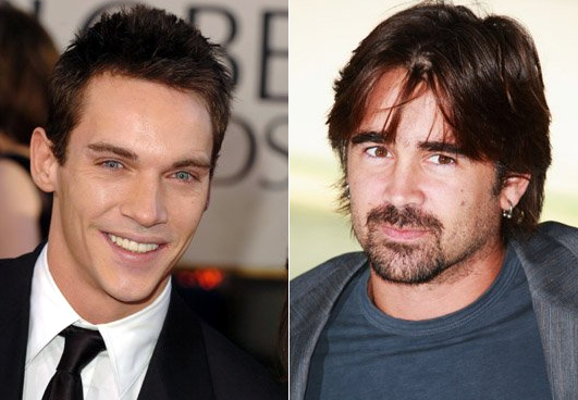 Jonathan Rhys Meyers on left and Colin Farrell