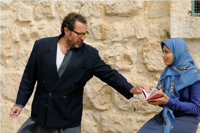 Julian Schnabel directs Freida Pinto on the set of Miral.