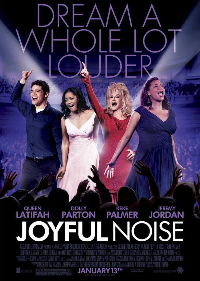 The movie poster for Joyful Noise with Dolly Parton and Queen Latifah