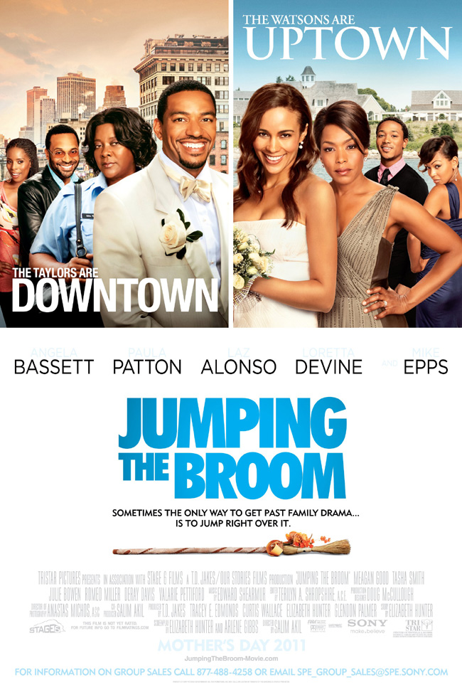 The movie poster for Jumping the Broom with Angela Bassett and Mike Epps