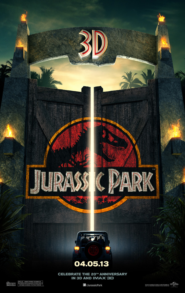 The movie poster for Jurassic Park in 3D from director Steven Spielberg