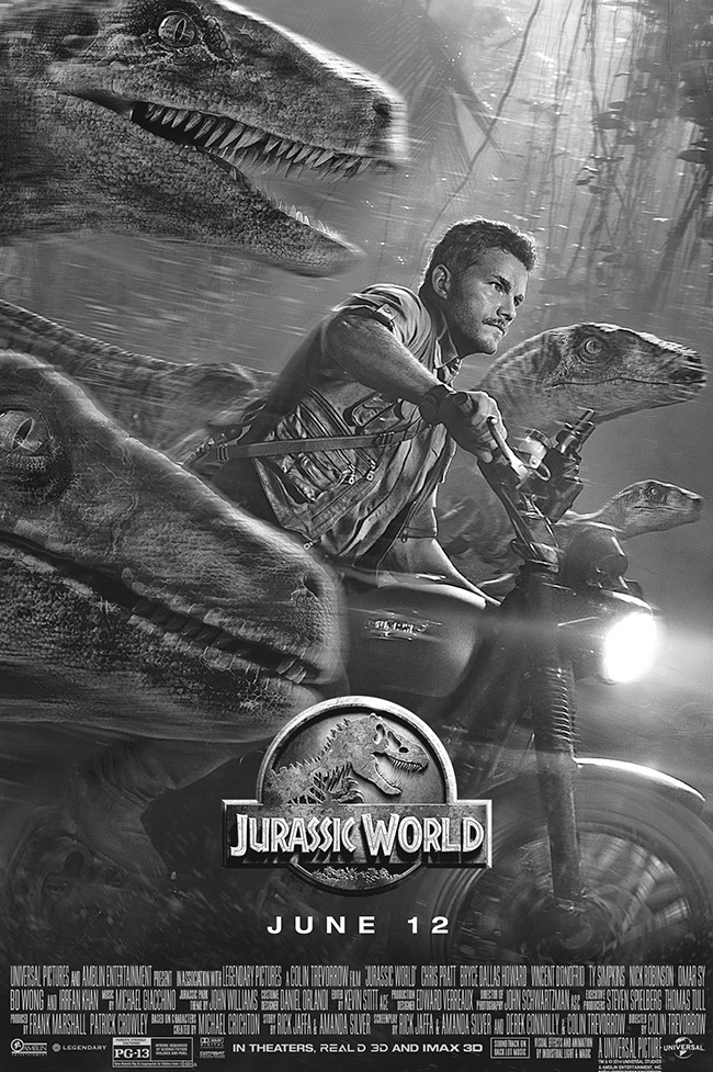 The movie poster for Jurassic World starring Chris Pratt from executive producer Steven Spielberg