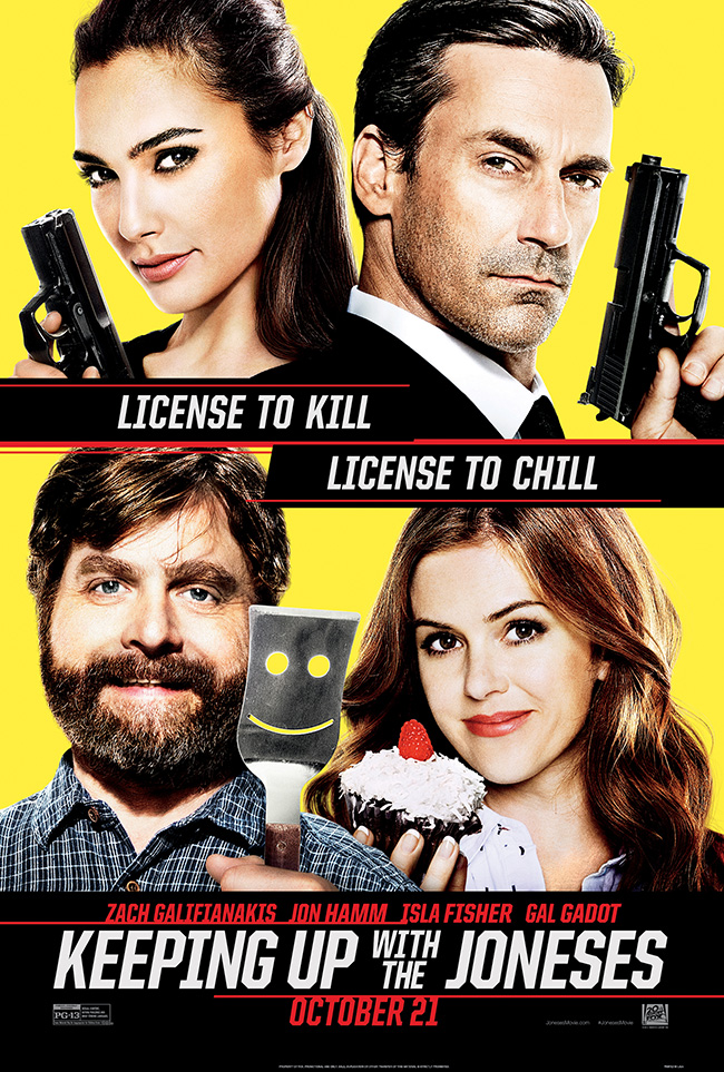 The movie poster for Keeping Up With the Joneses starring Zach Galifianakis and Jon Hamm