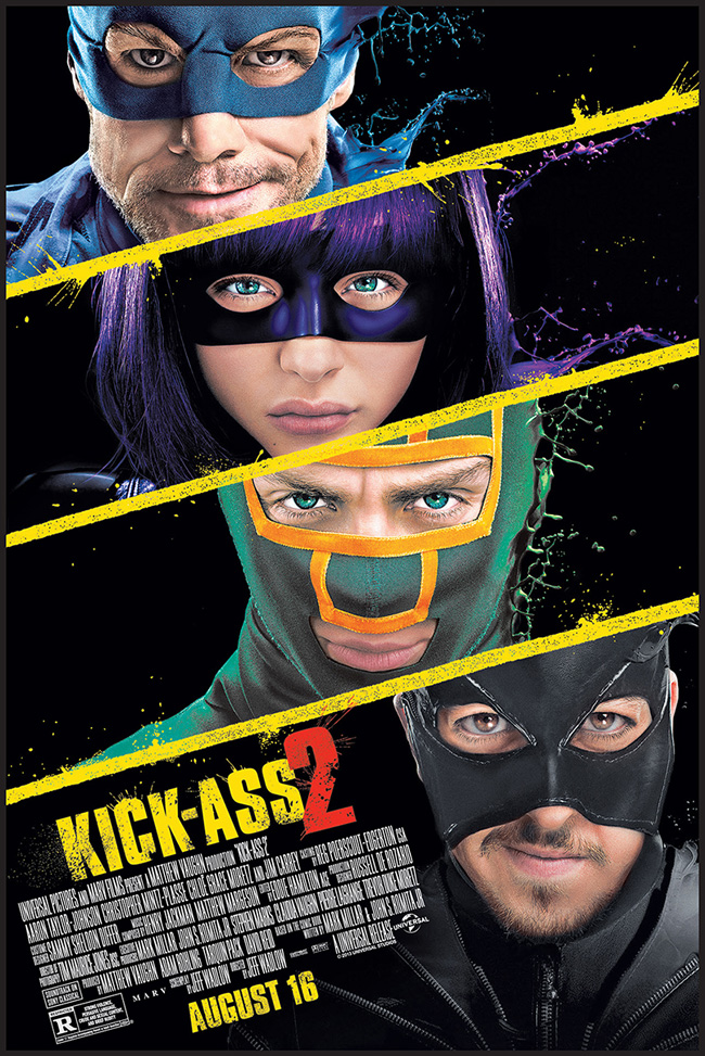 The movie poster for Kick-Ass 2 starring Aaron Taylor-Johnson and Chloe Grace Moretz
