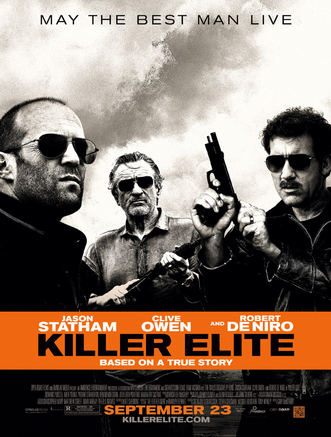 The movie poster for Killer Elite with Jason Statham, Clive Owen and Robert De Niro