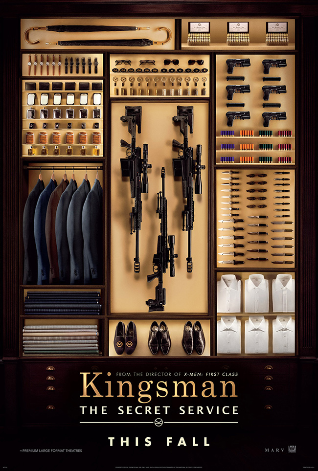 The movie poster for Kingsman: The Secret Service starring Colin Firth and Samuel L. Jackson