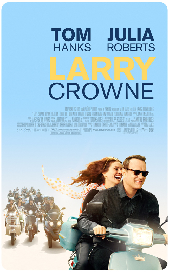 The movie poster for Larry Crowne with Tom Hanks and Julia Roberts