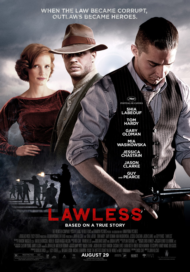 The Lawless movie poster with Tom Hardy, Shia LaBeouf and Gary Oldman