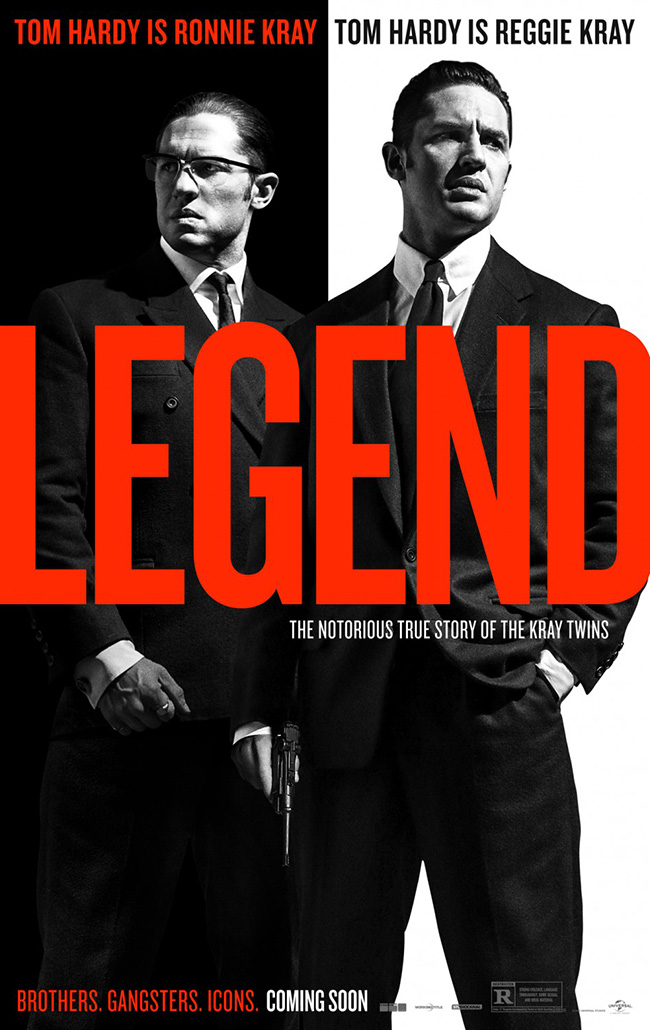 The movie poster for Legend starring Tom Hardy