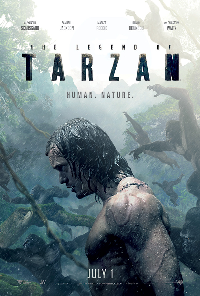The movie poster for The Legend of Tarzan starring Alexander Skarsgard and Margot Robbie