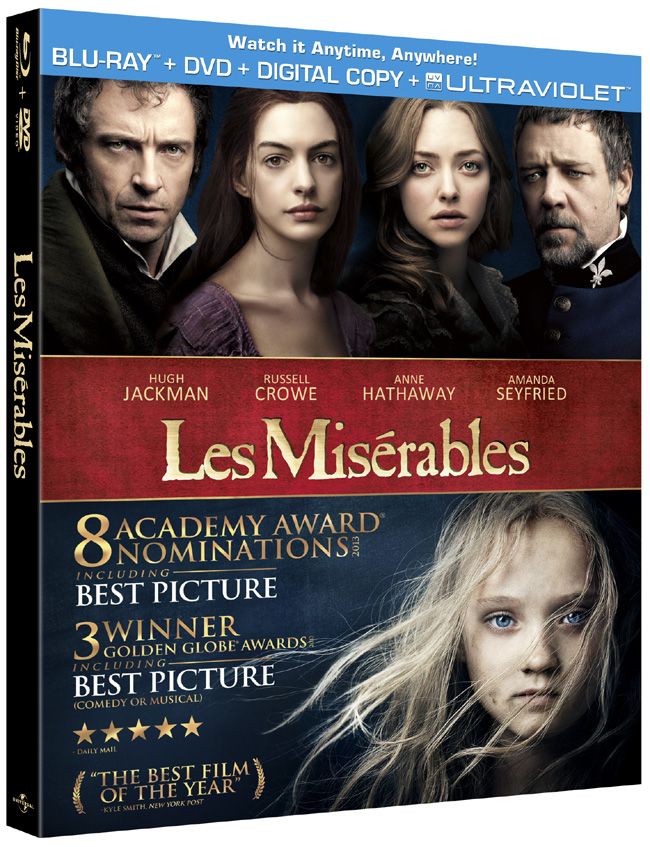 Les Miserables comes to Blu-ray and DVD combo pack on March 22, 2013