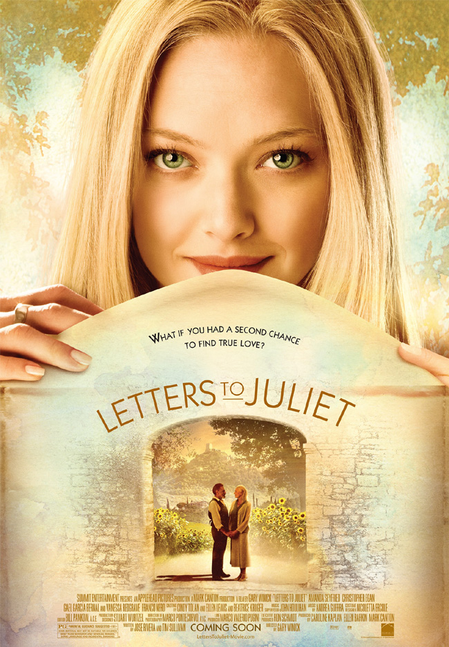 The movie poster for Letters to Juliet with Amanda Seyfried