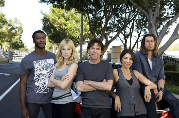 The Leverage team from left to right: Aldis Hodge, Beth Riesgraf, Timothy Hutton, Gina Bellman and Christian Kane