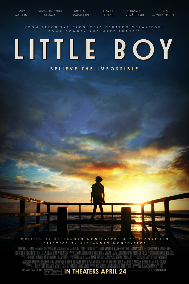 The movie poster for Little Boy starring Jakob Salvati, Kevin James and Emily Watson