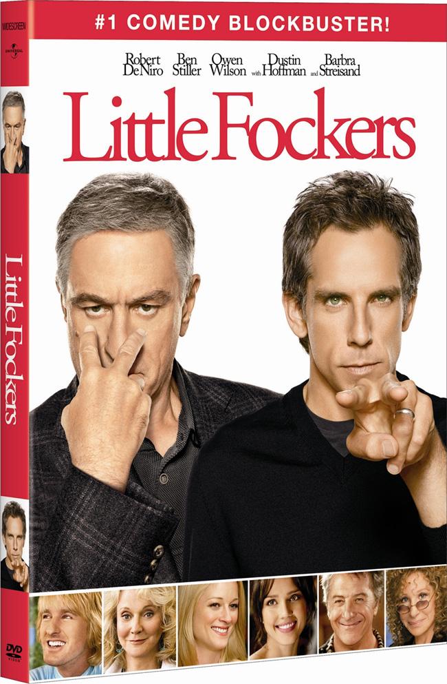 The DVD for Little Fockers with Ben Stiller, Robert De Niro, Owen Wilson and Dustin Hoffman