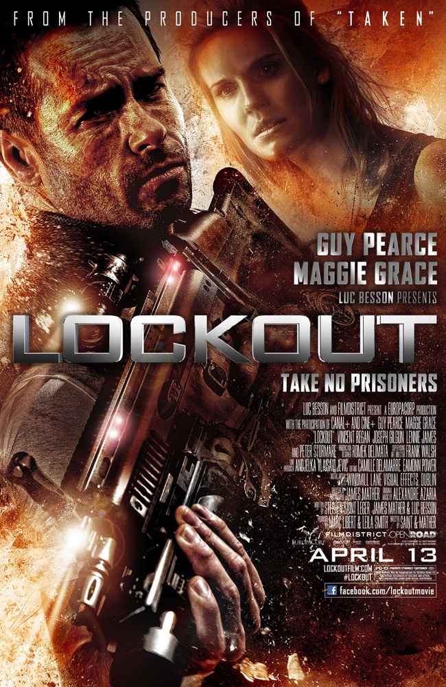 The movie poster for Lockout starring Guy Pearce and Maggie Grace