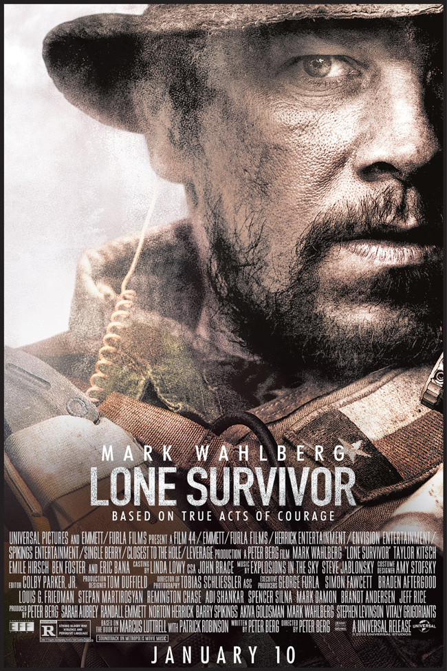 The movie poster for Lone Survivor starring Mark Wahlberg from Peter Berg