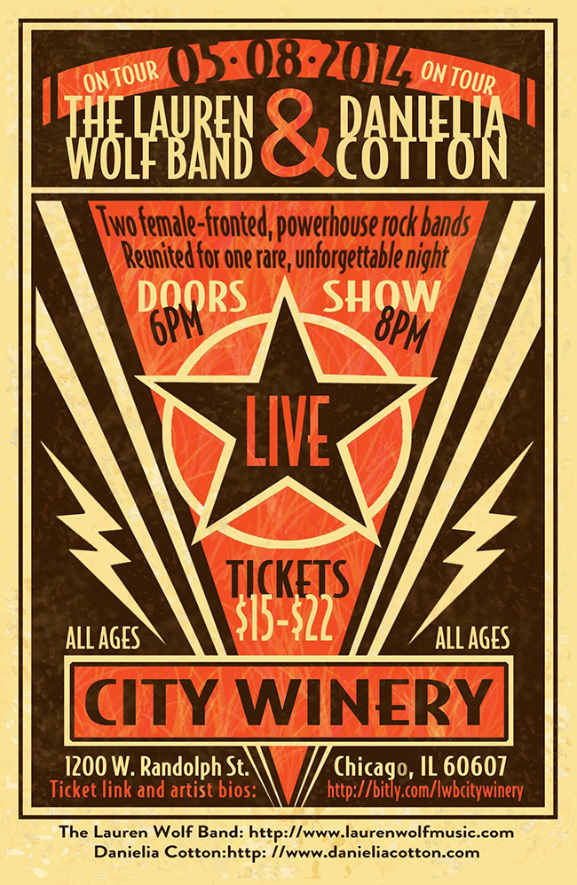 The poster for City Winery on May 8, 2014 with The Lauren Wolf Band, Danielia Cotton and Simpleton and Cityfolk