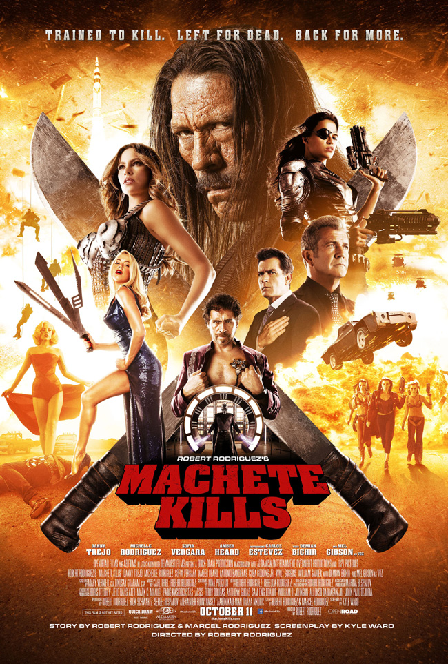 The movie poster for Machete Kills starring Danny Trejo from director Robert Rodriguez