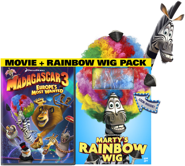 Madagascar 3: Europe's Most Wanted released on Blu-ray and DVD combo pack with circus wigs on Oct. 16, 2012