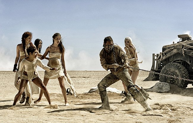 Riley Keough, Zoe Kravitz, Courtney Eaton, Rosie Huntington-Whiteley, Tom Hardy and Abbey Lee in Mad Max: Fury Road