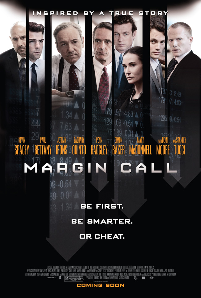 The movie poster for Margin Call with Kevin Spacey, Demi Moore and Stanley Tucci