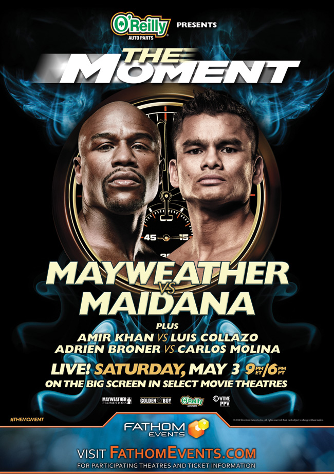 The event poster for The Moment: Mayweather vs. Maidana