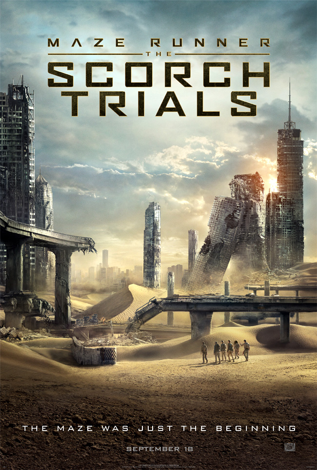 The movie poster for Maze Runner: The Scorch Trials starring Dylan O'Brien