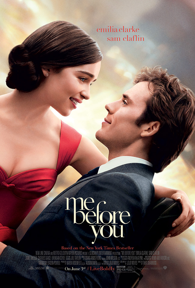 The movie poster for Me Before You with Emilia Clarke and Sam Claflin