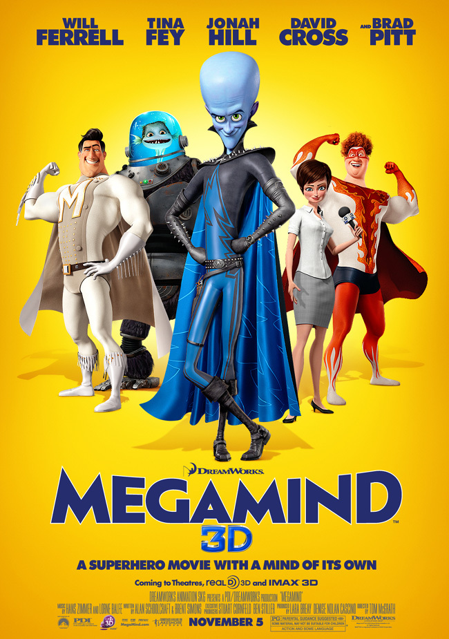 The movie poster for Megamind with Will Ferrell, Brad Pitt and Tina Fey
